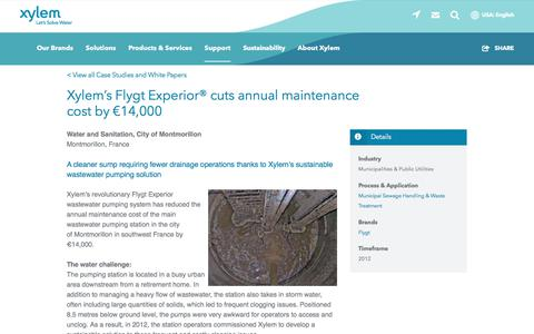 Screenshot of Case Studies Page xylem.com - Case Study: Xylem's Flygt Experior® cuts annual maintenance cost by €14,000   Xylem US - captured Nov. 9, 2019