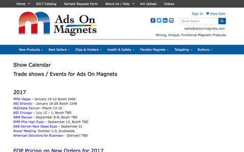 Screenshot of Press Page adsonmagnets.com - Ads On Magnets - Show Calendar - captured May 29, 2017