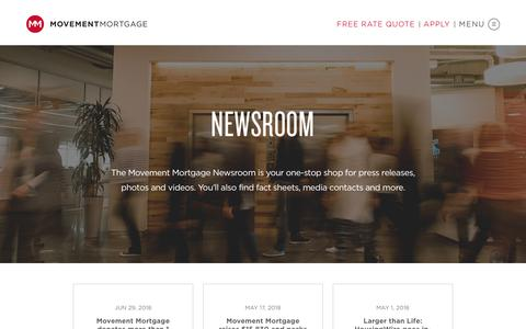 Screenshot of Press Page movement.com - Press - Movement Mortgage - captured July 3, 2018