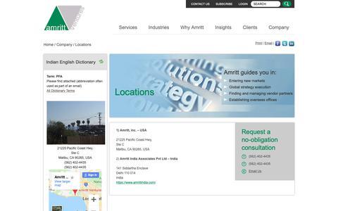 Screenshot of Locations Page amritt.com - Amritt Locations | Management Advisory Service | India Business ConsultantsAmritt, Inc. - captured Oct. 3, 2018