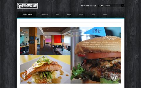 Screenshot of Home Page dkbguam.com - Delmonico Kitchen & Bar - Today's Special - captured Feb. 8, 2016