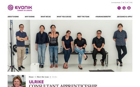 Screenshot of Team Page evonik.com - Ulrike                                                                - Evonik Careers - captured July 14, 2018