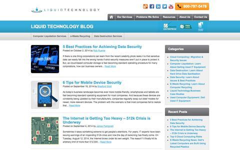 Screenshot of Blog liquidtechnology.net - Liquid Technology Blog - captured Oct. 2, 2014