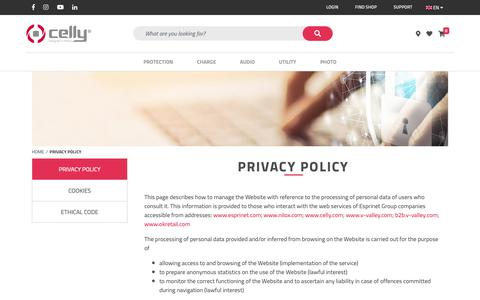 Screenshot of Privacy Page celly.com - Privacy Policy   Celly.com - captured Dec. 13, 2018