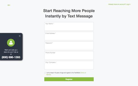 Screenshot of Signup Page textmarks.com - TextMarks SMS Service, Mass Text Messaging | Free Trial Sign Up - captured Sept. 10, 2018