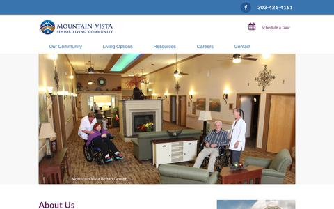 Screenshot of About Page mountainvista.net - About Us - Christian Living Communities | Mountain Vista - captured Oct. 20, 2018