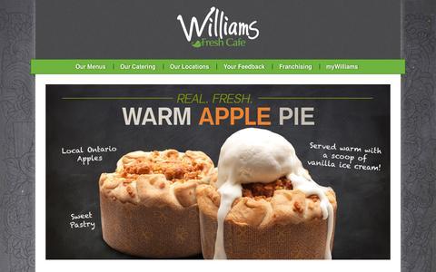 Screenshot of Home Page williamsfreshcafe.com - Williams Fresh Cafe | Canada's leading fast casual fresh food cafe - Williams Fresh Cafe - captured Sept. 14, 2015