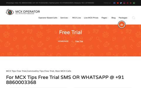 Screenshot of Trial Page mcxoperator.com - MCX Tips Free Trial,Commodity Tips Free Trial, Best MCX Calls - captured Jan. 24, 2019