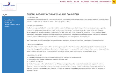 Screenshot of Terms Page chasebankkenya.co.ke - GENERAL ACCOUNT OPENING TERMS AND CONDITIONS   Chase Bank - captured Jan. 27, 2016