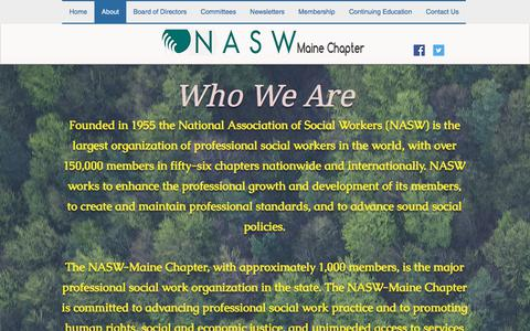Screenshot of About Page naswmainechapter.com - About | National Association of Social Workers Maine Chapter - captured Feb. 19, 2018