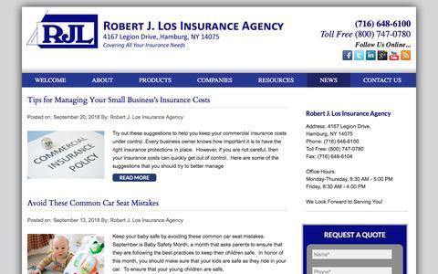 Screenshot of Press Page robertjlosagency.com - NEWS | Robert J Los Insurance Agency - captured Sept. 21, 2018