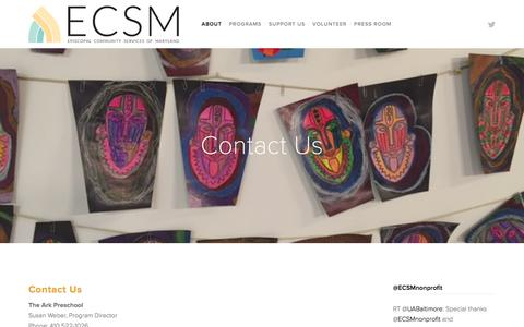 Screenshot of Contact Page ecsm.org - Contact Us — Episcopal Community Services of Maryland - captured Jan. 30, 2016
