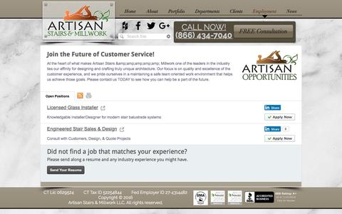 Screenshot of Jobs Page artisanstairsandmillwork.com - Artisan Stairs Job Postings - captured Nov. 21, 2016