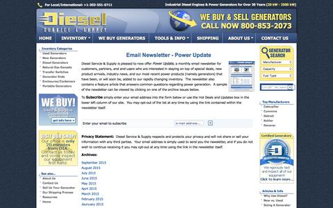 Screenshot of Signup Page dieselserviceandsupply.com - Email Newsletter - The Power Update - Hot Deals, New Generators, Used Generators - captured Jan. 7, 2016