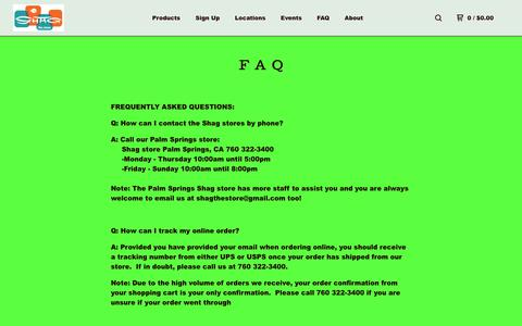 Screenshot of FAQ Page bigcartel.com - The Shag stores — FAQ - captured Dec. 4, 2018