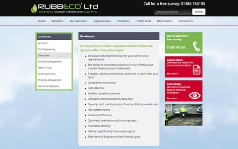 Screenshot of Developers Page rubbeco.com - Developers - captured Oct. 7, 2014