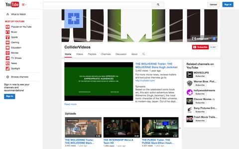 Screenshot of YouTube Page youtube.com - ColliderVideos  - YouTube - captured Oct. 22, 2014