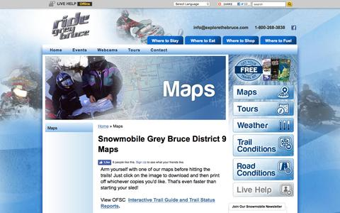 Screenshot of Maps & Directions Page snowmobilegreybruce.com - Maps - Snowmobile Grey Bruce - captured March 28, 2016