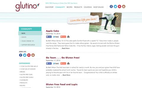 Screenshot of Blog glutino.com - Blog | Glutino & Gluten-Free Pantry - captured Sept. 22, 2014