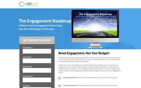 Screenshot of Landing Page hrsoft.com - The Engagement Roadmap - captured Sept. 6, 2016