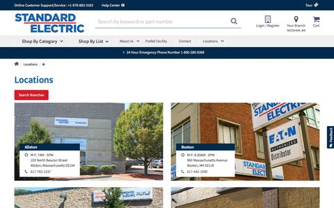 Screenshot of Locations Page standardelectric.com - Locations  | Standard Electric - captured Sept. 21, 2018