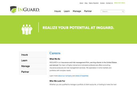 Screenshot of Jobs Page inguard.com - Insurance & Risk Management Careers | INGUARD - captured Oct. 29, 2014