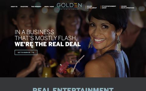 Screenshot of Home Page goldenent.com - Golden Entertainment | Casinos, Taverns & Distributed Gaming - captured Nov. 12, 2018