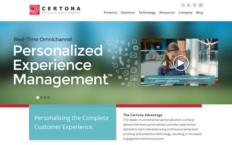 Screenshot of Home Page certona.com - Personalized Experience Manager - Omnichannel Personalization - Recommendation Software - captured July 11, 2014