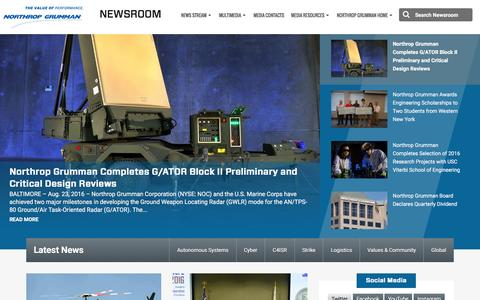 Screenshot of Press Page northropgrumman.com - Newsroom | Northrop Grumman - captured Aug. 25, 2016
