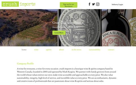 Screenshot of Home Page crushimports.com - Home  |  Crush Imports - captured Dec. 8, 2018