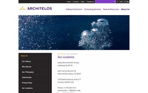 Screenshot of Locations Page architelos.com - Our Locations   Architelos - captured Sept. 30, 2014