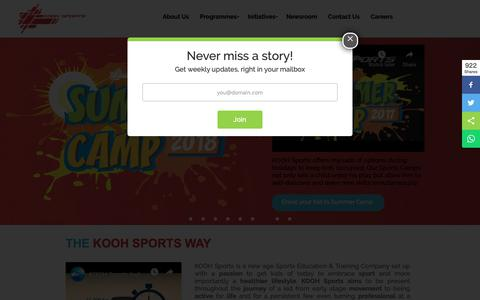 Screenshot of Home Page koohsports.com - Sports Education & Training Company - KOOH Sports India and UAE - captured Nov. 15, 2018