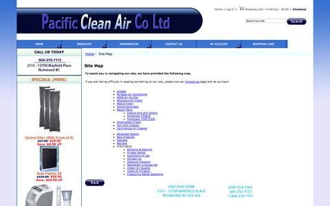 Screenshot of Products Page Site Map Page pacificcleanair.com - Site Map : Pacific Clean Air, Indoor Air Quality Since 1988 - captured Oct. 22, 2014
