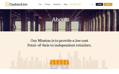 Screenshot of About Page cashierlive.com - About - captured July 19, 2014