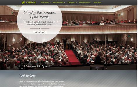 Screenshot of Home Page vendini.com - Ticketing, Box Office Software, Event Promotion, Event Management & Logistics | Vendini - captured Sept. 19, 2014
