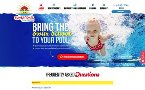 Screenshot of FAQ Page sunsationalswimschool.com - Swimming Lessons FAQ   Sunsational Swim School - captured Sept. 23, 2018