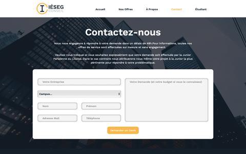 Screenshot of Contact Page iesegconseil.fr - Contact - captured Oct. 13, 2018