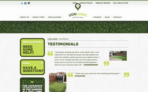 Screenshot of Testimonials Page lionlawns.co.uk - Testimonials - Lion Lawns - captured July 5, 2017