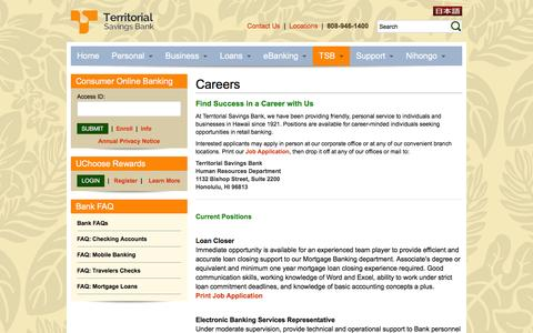 Screenshot of Jobs Page territorialsavings.net - Careers | Territorial Savings Bank - captured Feb. 11, 2016