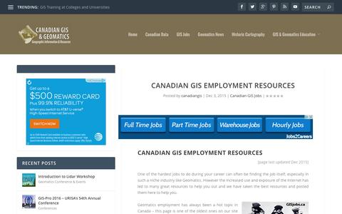 Canadian GIS Employment Resources | Canadian GIS & Geomatics