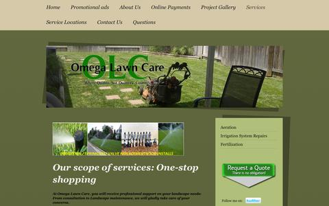 Screenshot of Services Page omegalawncare.com - Mowing, Mow, Hedge Trimming, Hedge, Lawn, Turf, Turf Mowing, Lawn Cutting, Leaf, Leaf removal, Leaf clean up, Plants, Planting, - captured Oct. 9, 2014
