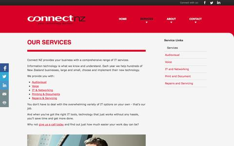 Screenshot of Services Page connectnz.co.nz - A Comprehensive Range of IT Services. | Connect NZ - captured Sept. 30, 2014