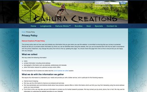 Screenshot of Privacy Page kahunacreations.com - Privacy Policy - captured Sept. 19, 2014