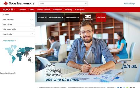 Screenshot of Jobs Page ti.com - TI Careers - Your Career Starts Here - captured Oct. 30, 2015