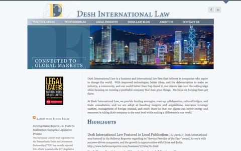 Screenshot of Home Page deshlaw.com - Home « Desh International Law - captured Oct. 5, 2014