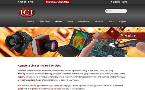 Screenshot of Services Page infraredcamerasinc.com - Complete Line of Infrared Services   Infrared Cameras Inc - captured Jan. 13, 2018