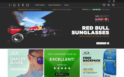 Screenshot of Home Page igero.com - Igero | Official Retailer Of Oakley, Dragon & Red Bull Racing - captured June 16, 2015