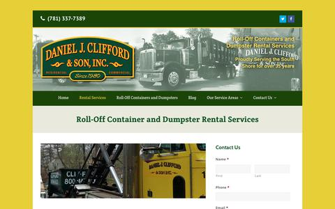 Screenshot of Services Page cliffordcontainers.com - Roll-Off Container & Dumpster Rental Services in Weymouth, MA | Daniel J. Clifford & Son Dumpster Service - captured Nov. 2, 2018