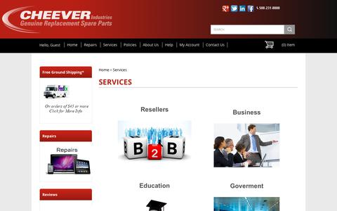 Screenshot of Services Page cheeverind.com - Services - captured Sept. 27, 2018