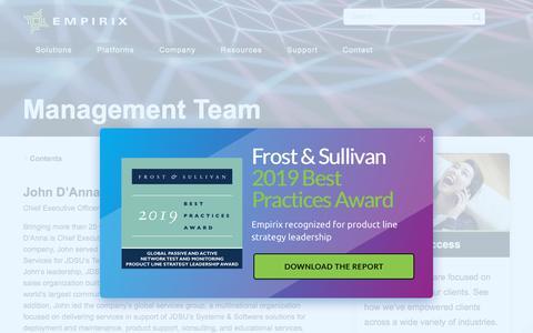 Screenshot of Team Page empirix.com - Leadership: Management Team — Empirix - captured Jan. 18, 2020